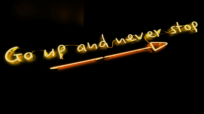 Go up and never stop motivational quote